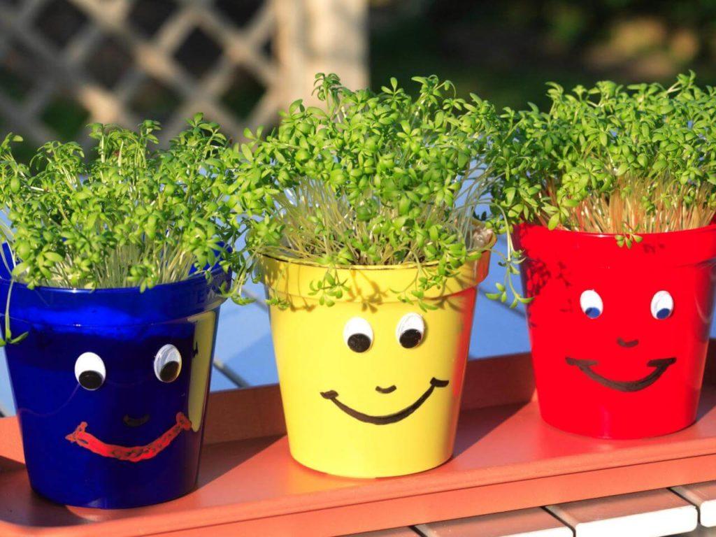 Put on a Happy Face diy flower pot