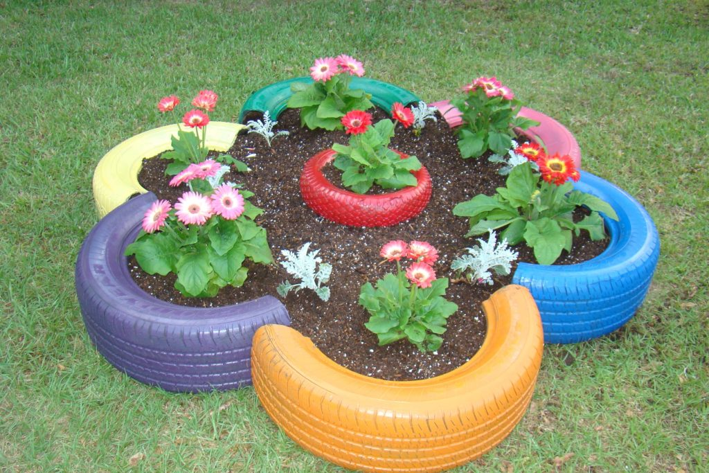 Tire diy flower pot