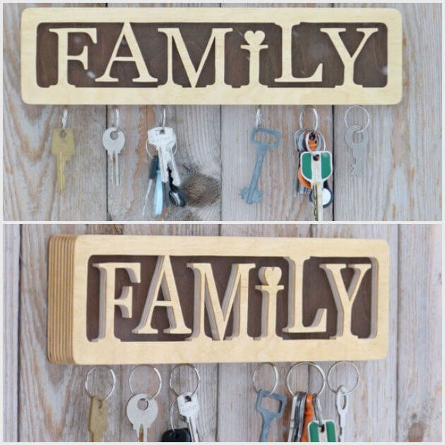 Family words diy Key Holder