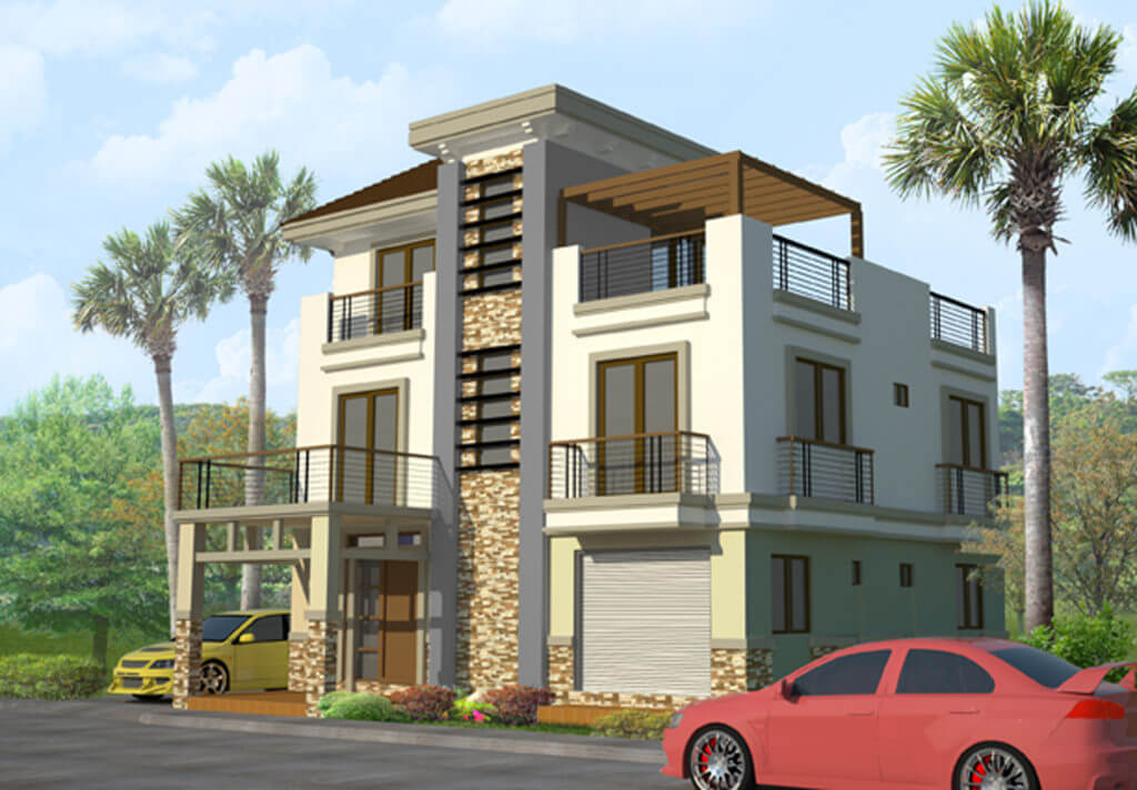 3 storey house design with rooftop