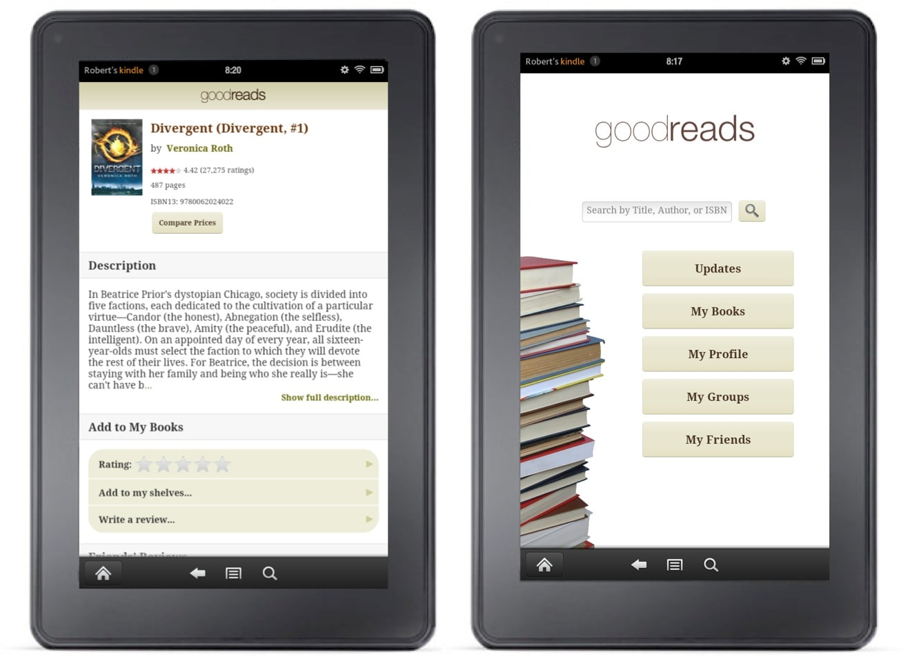 goodreads kindle app