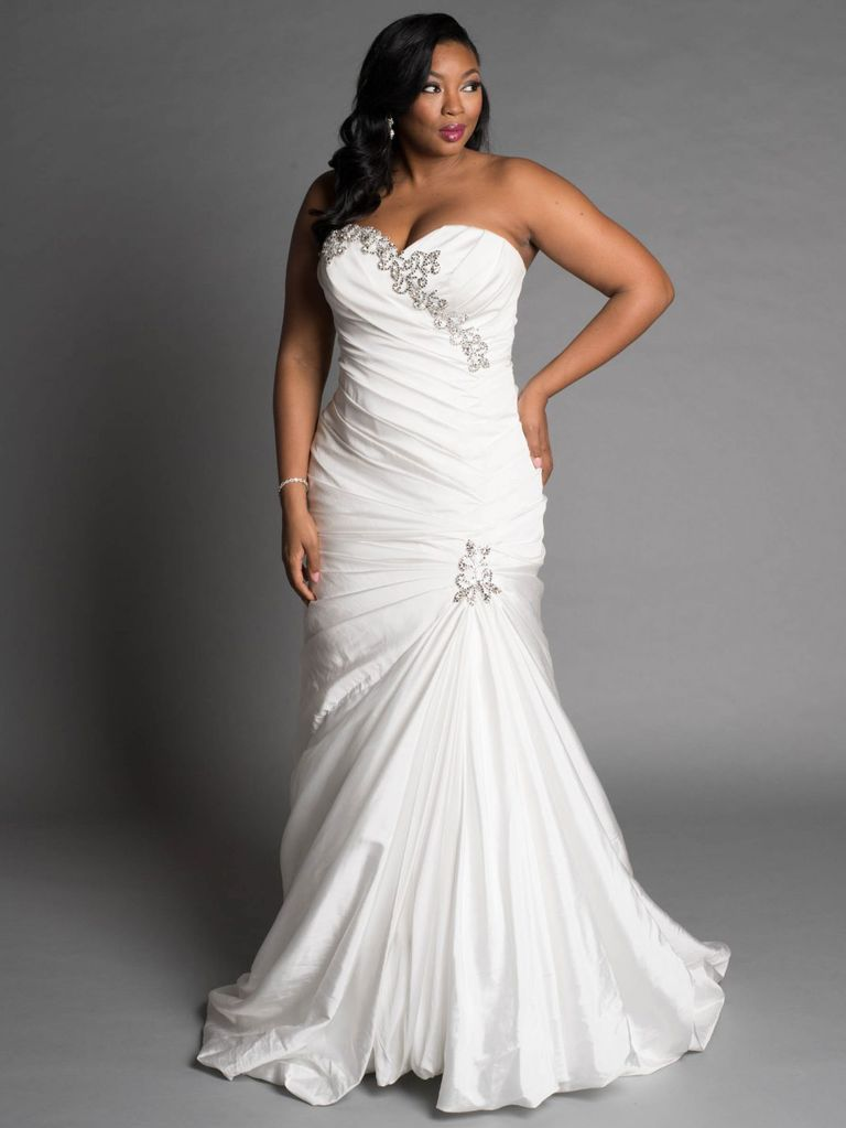 Satic Fabric Plus Size Wedding Dress
