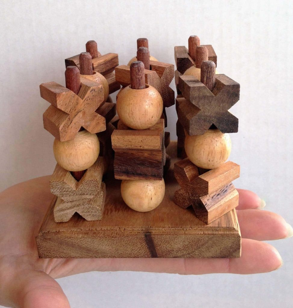 Brain Training Wooden Puzzles Increase Productivity - 3D Tic Tac Toe