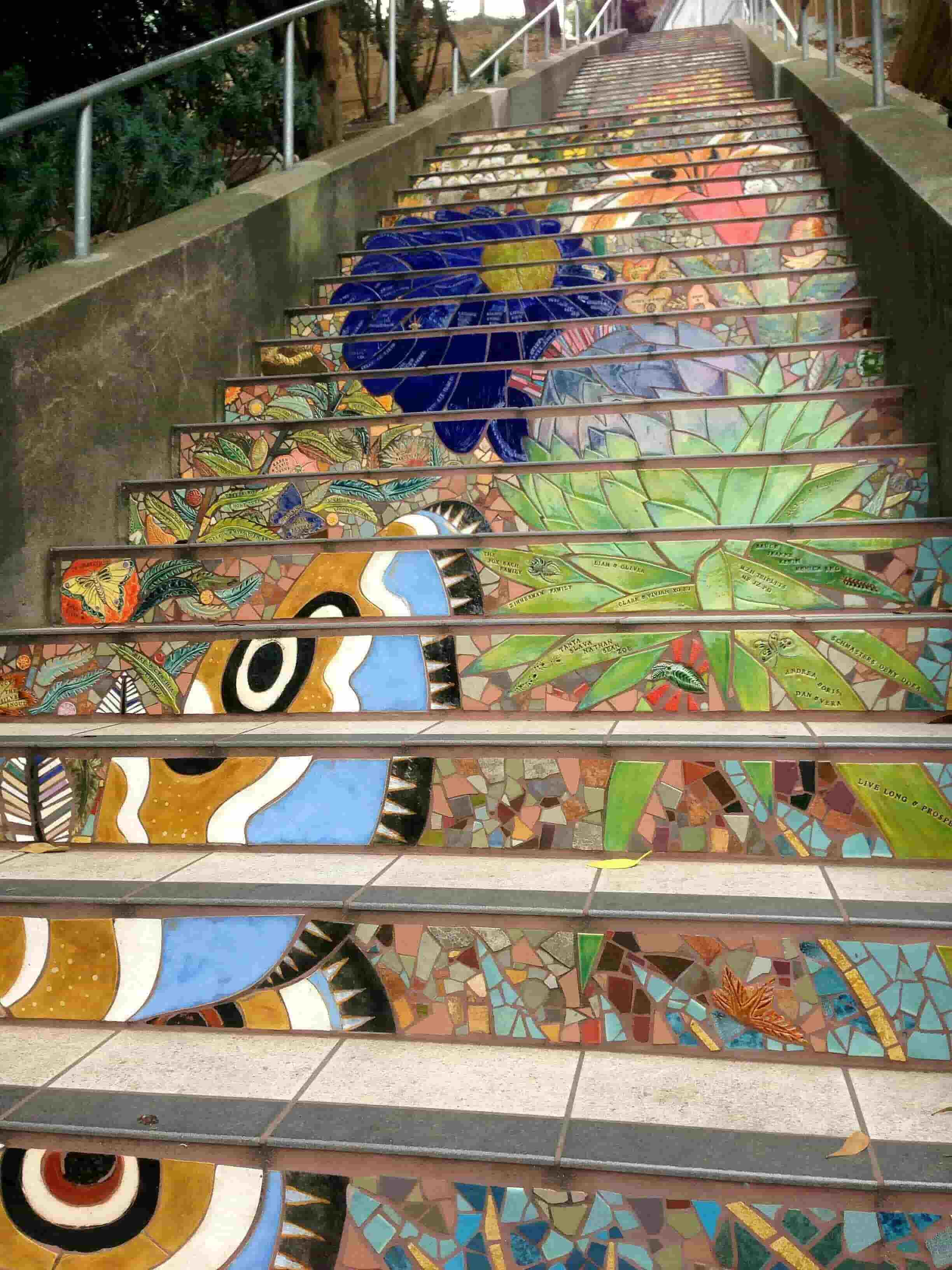 Colorful mosaic stairway in Goldengate Heights, San Francisco