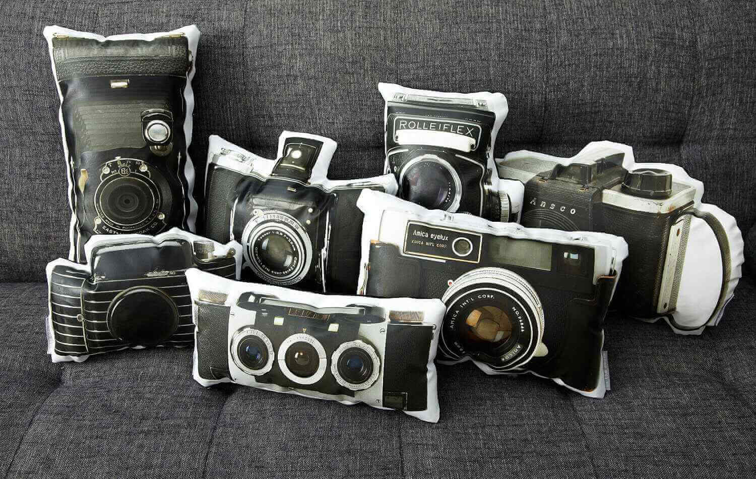 Vintage Amica Eyelux Camera Canvas Printed Pillow