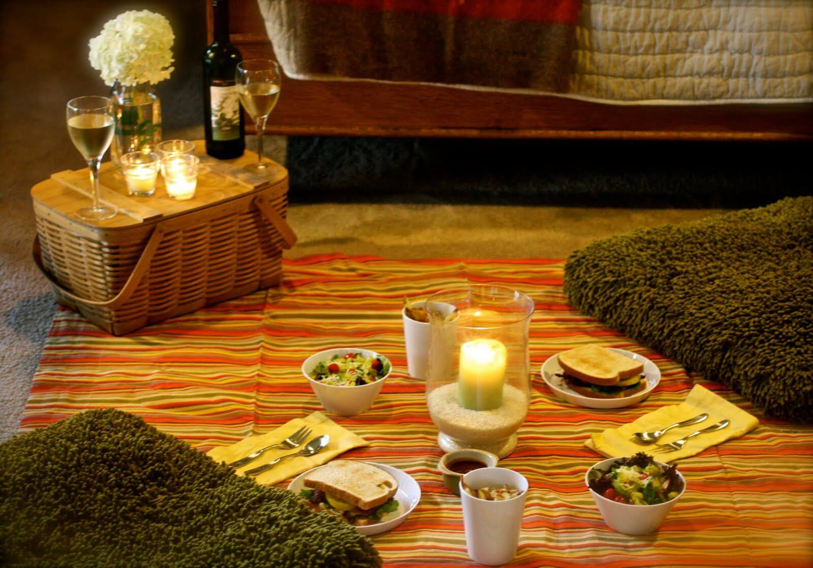 Set up an indoor picnic