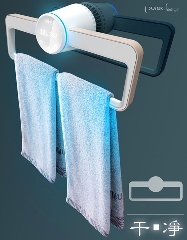 A hanger that dries and disinfects towels