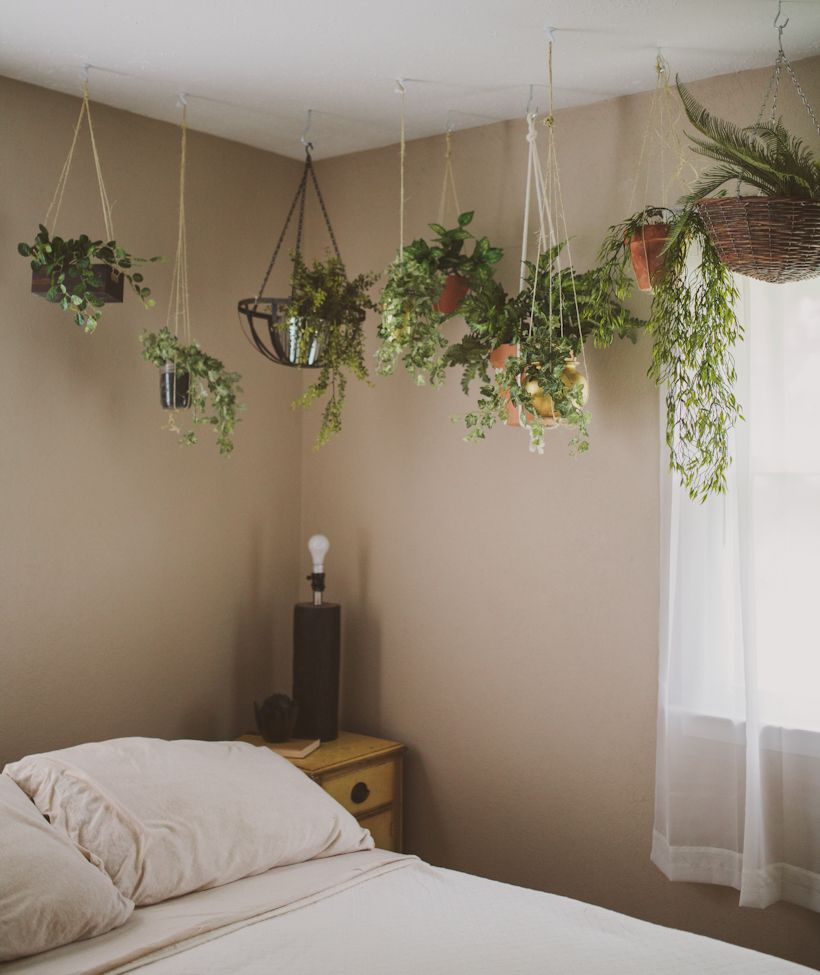 decorate bedroom with plants
