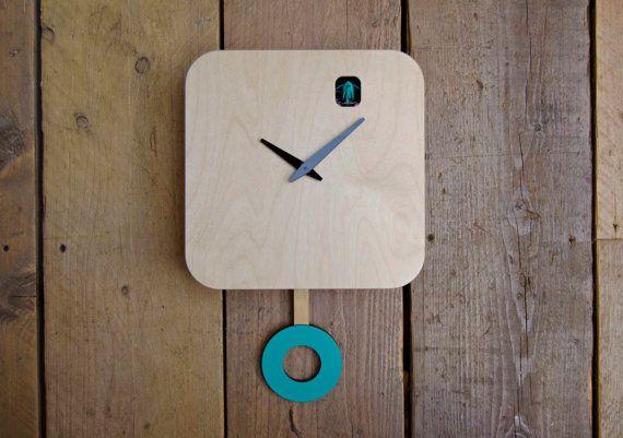 Minimalist Turquoise Cuckoo Clock With Pendulum